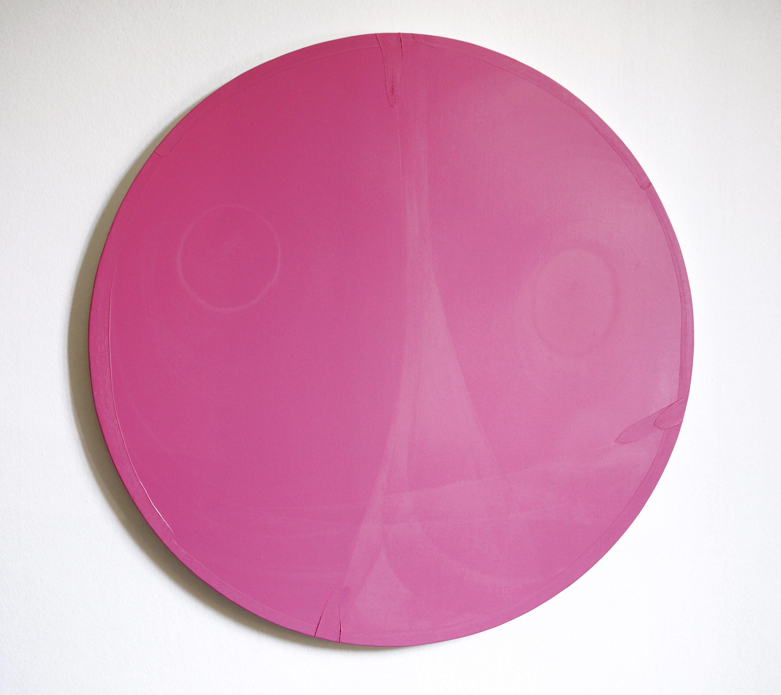 Antonio Catelani - flying kisses (pink), 2020 oil on canvas cm 80 Ø