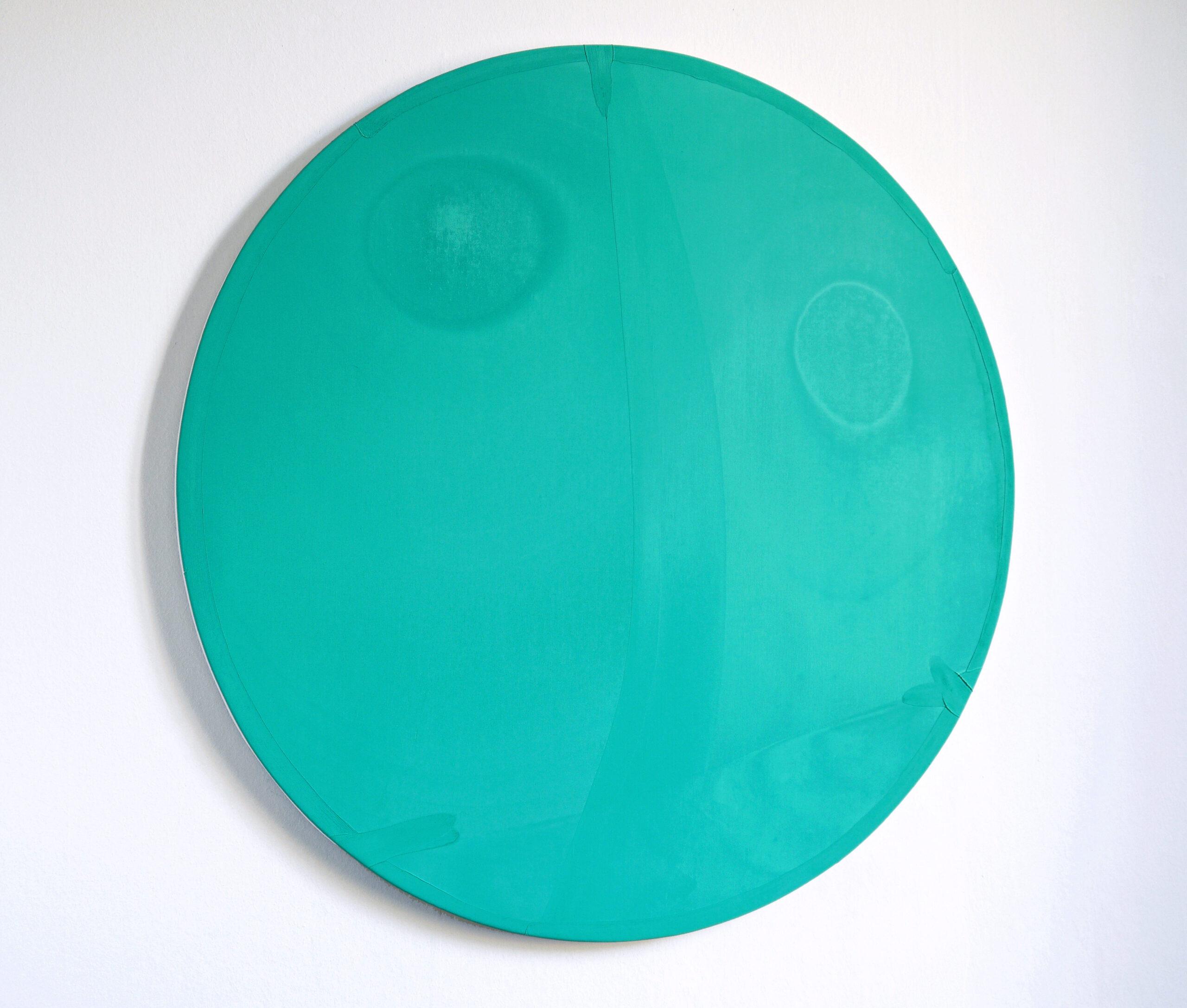 Antonio Catelani - flying kisses (turquoise), 2020 oil on canvas cm 80 Ø