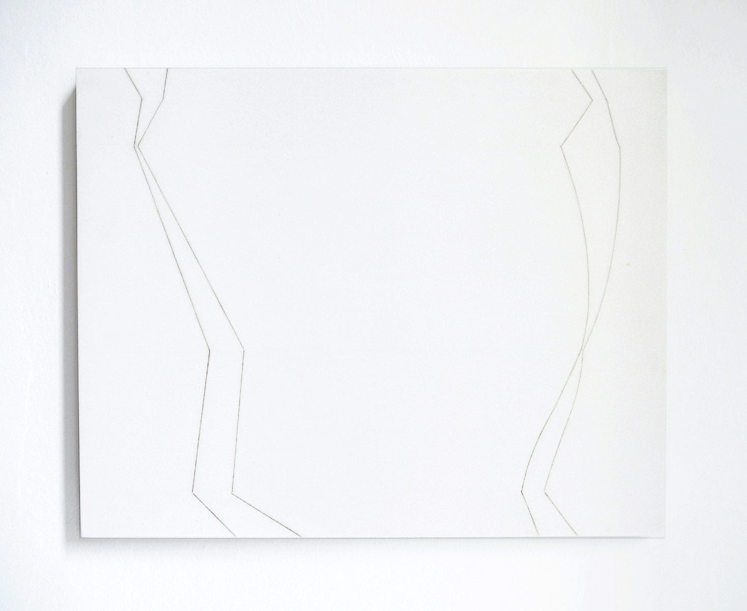 Antonio Catelani - canone variabile 1989 silverpoint drowing on withe marble slab cm 40x50x2